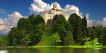old castle on the hill in Trakoscan, Croatia